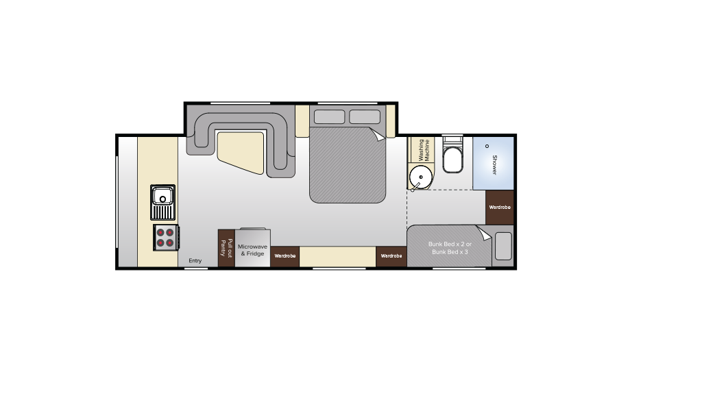 Avida Topaz CV7656SL Bunks Floorplan